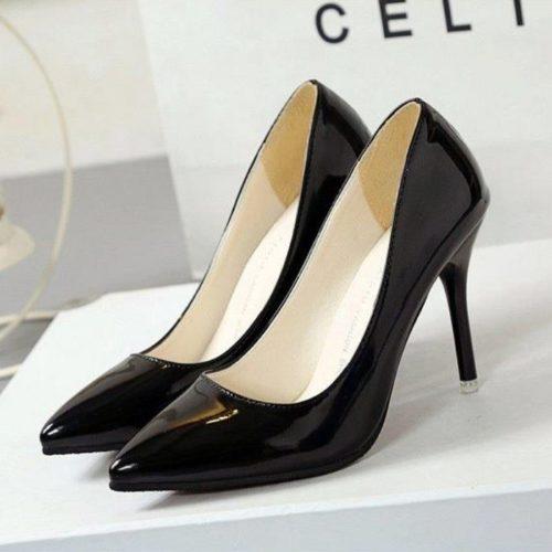 JSH9181-black Sepatu High Heels Wanita Elegan Import 9.5CM