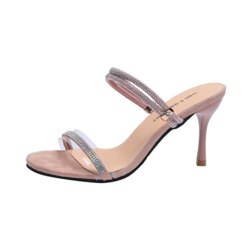 JSH919-khaki Sepatu Heels Wanita Cantik Elegan 7CM