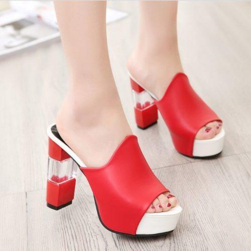 JSH920-red Sepatu High Heels Block Wanita 11CM