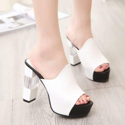 JSH920-white Sepatu High Heels Block Wanita 11CM