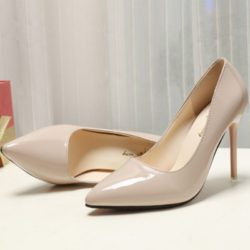 JSH9588-khaki Sepatu Heels Pointed Toe Wanita Cantik 10CM
