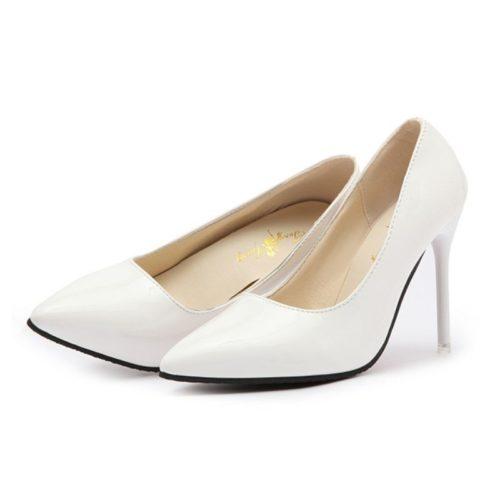 JSH9588-white Sepatu Heels Pointed Toe Wanita Cantik 10CM