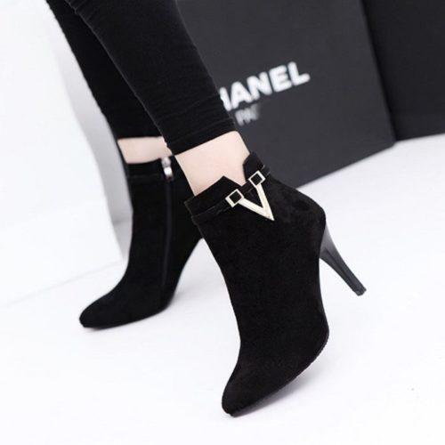 JSH959-black Sepatu Heels Boot Wanita Elegan Import 9CM
