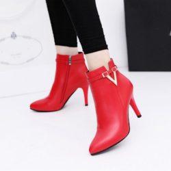 JSH959-red Sepatu Heels Boot Wanita Elegan Import 9CM