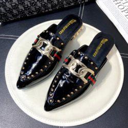 JSH971-black Sandal Low Heels Wanita Elegan Import 2.5CM