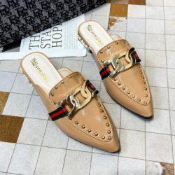 JSH971-brown Sandal Low Heels Wanita Elegan Import 2.5CM