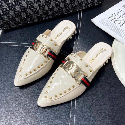 JSH971-white Sandal Low Heels Wanita Elegan Import 2.5CM