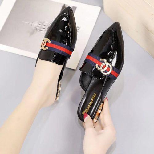 JSH9712-black Sandal Slip On Import Elegan Wanita Cantik