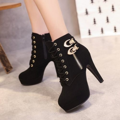 JSH9818-black Sepatu High Heels Boot Wanita Elegan 11.5CM