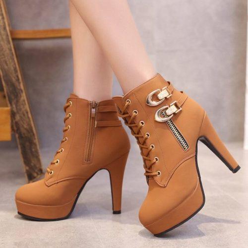 JSH9818-brown Sepatu High Heels Boot Wanita Elegan 11.5CM