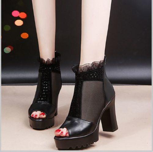 JSH9908-black Sepatu High Heels Block Wanita Elegan Import 9.5CM