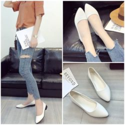 JSH992-white Sepatu Casual Wanita Cantik Elegan 3CM