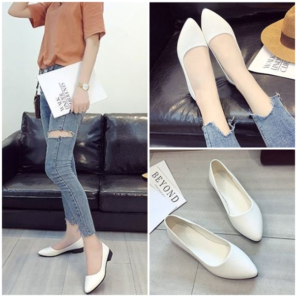 JSH992 IDR.125.000 MATERIAL PU HEEL 3 CM COLOR WHITE SIZE 35,36,37,38,39