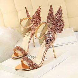JSH9931-apricot Sepatu Heels Pesta Wanita Mewah Elegan 9.5cm