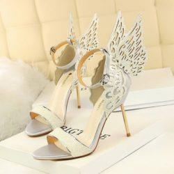 JSH9931-silver Sepatu Heels Pesta Wanita Mewah Elegan 9.5cm