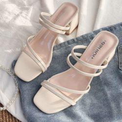 JSHA12-beige Sepatu Heels Blok Wanita Cantik Terbaru 4CM