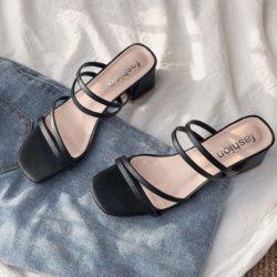 JSHA12-black Sepatu Heels Blok Wanita Cantik Terbaru 4CM