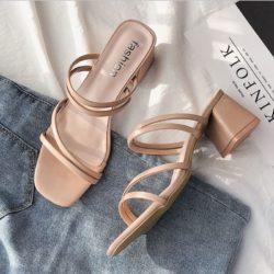 JSHA12-pink Sepatu Heels Blok Wanita Cantik Terbaru 4CM