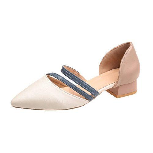 JSHA502-blue Sepatu Heels Blok Wanita Cantik Elegan 3CM