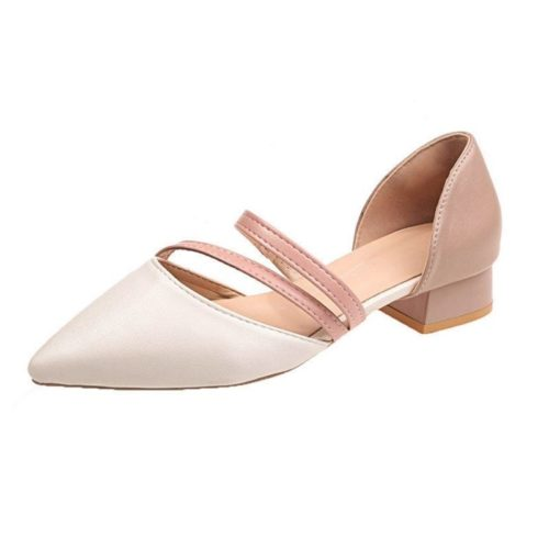 JSHA502-pink Sepatu Heels Blok Wanita Cantik Elegan 3CM
