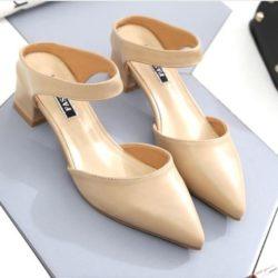 JSHA612-apricot Sepatu Heels Wanita Stylish Kekinian 4.5CM