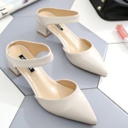 JSHA612-beige Sepatu Heels Wanita Stylish Kekinian 4.5CM