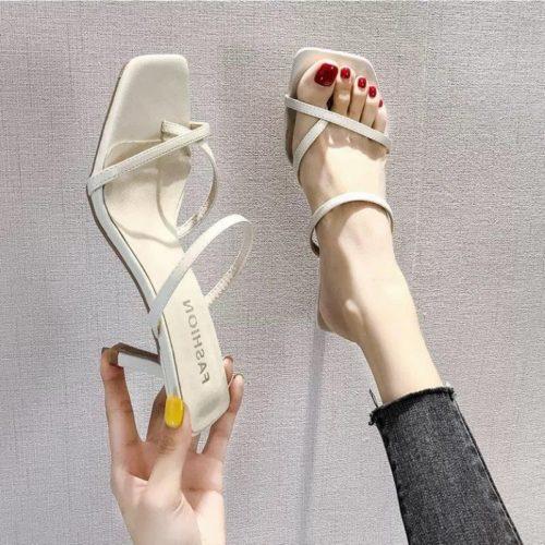 JSHA80-beige Sepatu Heels Wanita Elegan Import Terbaru 7CM