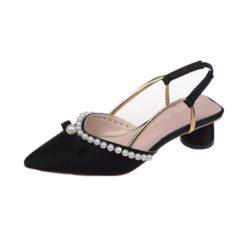 JSHA816-black Sepatu Heels Pesta Elegan Wanita Cantik 5CM
