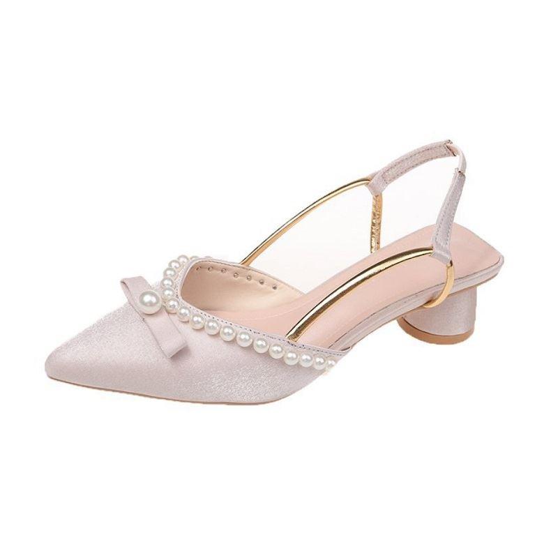 JSHA816-khaki Sepatu Heels Pesta Elegan Wanita Cantik 5CM