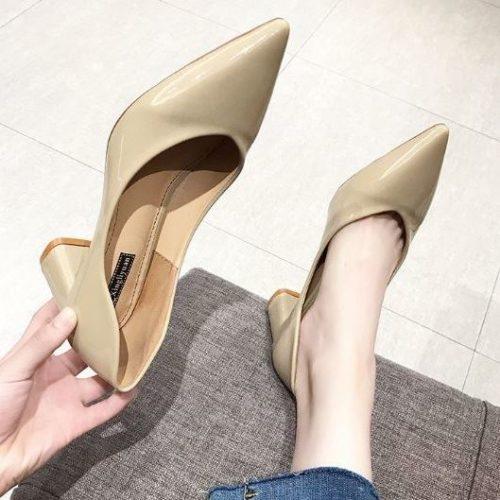 JSHB06-beige Sepatu Heels Wanita Cantik Elegan Terbaru 6CM