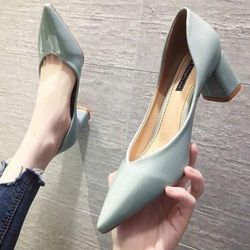 JSHB06-blue Sepatu Heels Wanita Cantik Elegan Terbaru 6CM