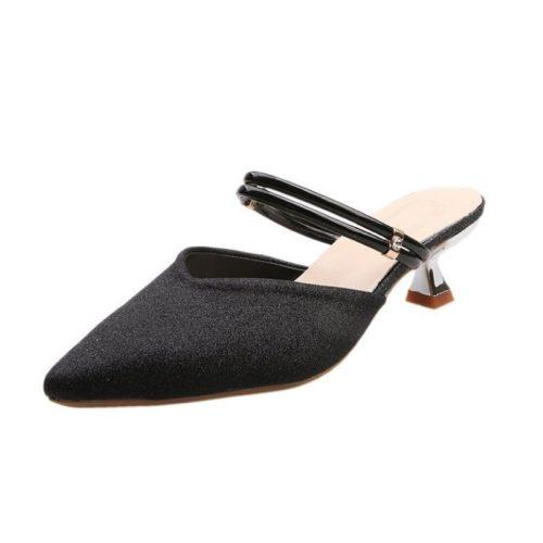 JSHC07-black Sepatu Heels Pesta Wanita Elegan Import 5CM