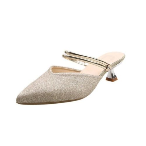 JSHC07-gold Sepatu Heels Pesta Wanita Elegan Import 5CM