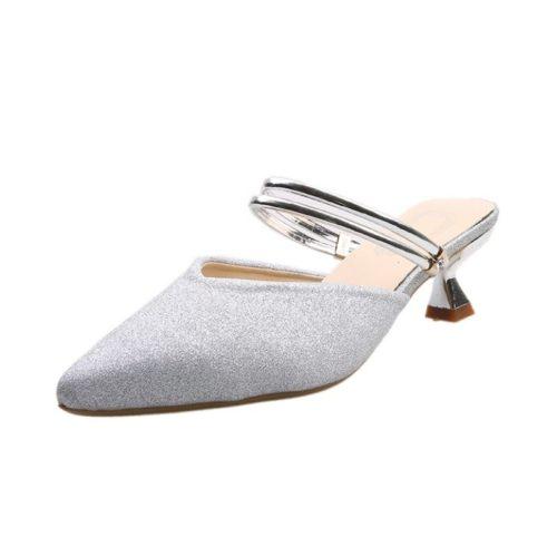 JSHC07-silver Sepatu Heels Pesta Wanita Elegan Import 5CM