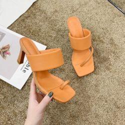 JSHD60-orange Sepatu Heels Wanita Cantik Import Terbaru 8CM