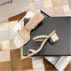 JSHE666-beige Sepatu Heels Blok Import Wanita Elegan 6CM