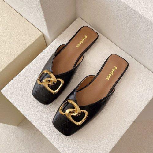 JSHK82-black Sandal Heels Casual Wanita Cantik Import 2CM