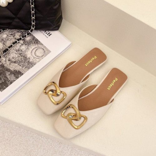JSHK82-white Sandal Heels Casual Wanita Cantik Import 2CM