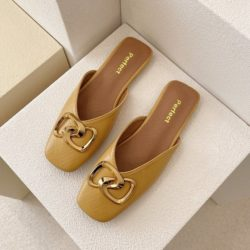 JSHK82-yellow Sandal Heels Casual Wanita Cantik Import 2CM