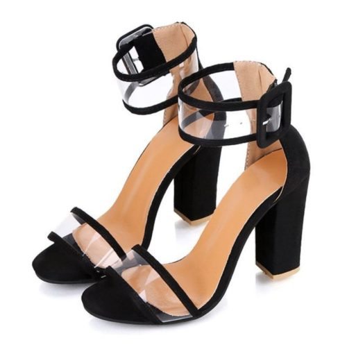 JSHM6-black Sepatu Heels Blok Import Wanita Cantik 10.5CM
