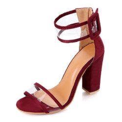 JSHM6-wine Sepatu Heels Blok Import Wanita Cantik 10.5CM
