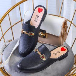 JSHW1010-black Sandal Low Heels Import Wanita Cantik Elegan 2.5CM