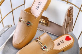 JSHW1010-brown Sandal Low Heels Import Wanita Cantik Elegan 2.5CM