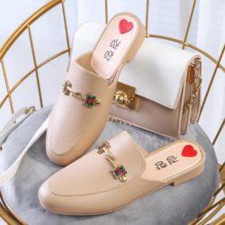 JSHW1010-khaki Sandal Low Heels Import Wanita Cantik Elegan 2.5CM