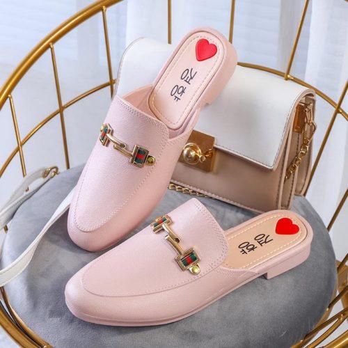 JSHW1010-pink Sandal Low Heels Import Wanita Cantik Elegan 2.5CM