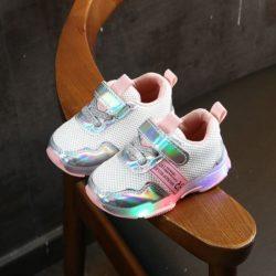 JSK104-pink Sepatu Sneakers Anak Imut Lampu LED