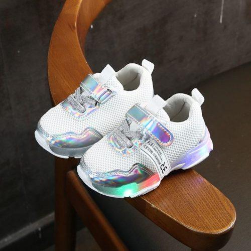 JSK104-white Sepatu Sneakers Anak Imut Lampu LED