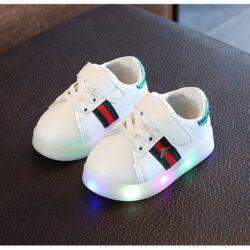 JSK108-green Sepatu Sport Anak Import Terbaru (LED)