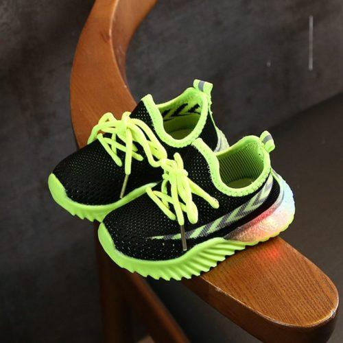JSK2011-blackgreen Sepatu Sneakers Anak Modis Import Terbaru
