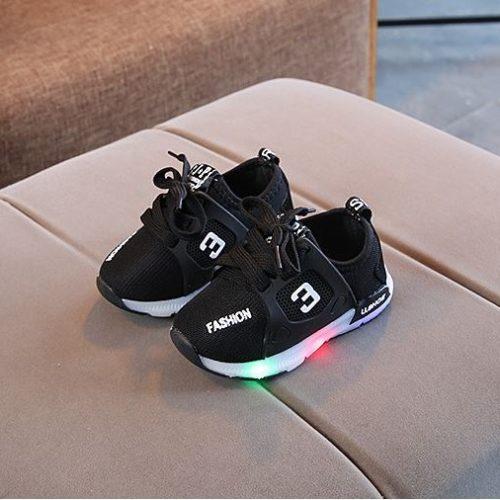 JSK333-black Sepatu Anak Sport Import Kekinian (LED)
